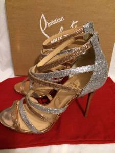 spiked mens shoes - Christian Louboutin Mariniere Glitter Silver Gold Strappy Sandal ...