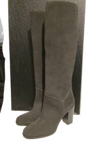 Chanel 13a 2013 Grey Suede Cc Logo Knee High Tall Boots Shoes Heels 1500 Ebay