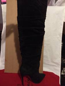 Christian Louboutin Ishtar Botta Ruched Black Suede Knee High Heels Boots 2295 Ebay
