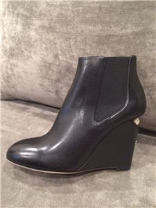 chanel 15p 2015 leather wedge pearl heel ankle booties