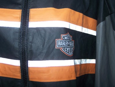MENS OFFICIAL HARLEY DAVIDSON REFLECTIVE RAIN JACKET SIZE LARGE L@q@K