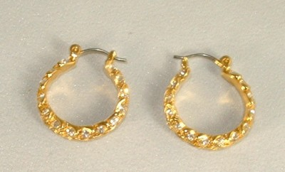 CAROLEE Gold Tone Rhinestone Hoop Earrings Leverback Pierced