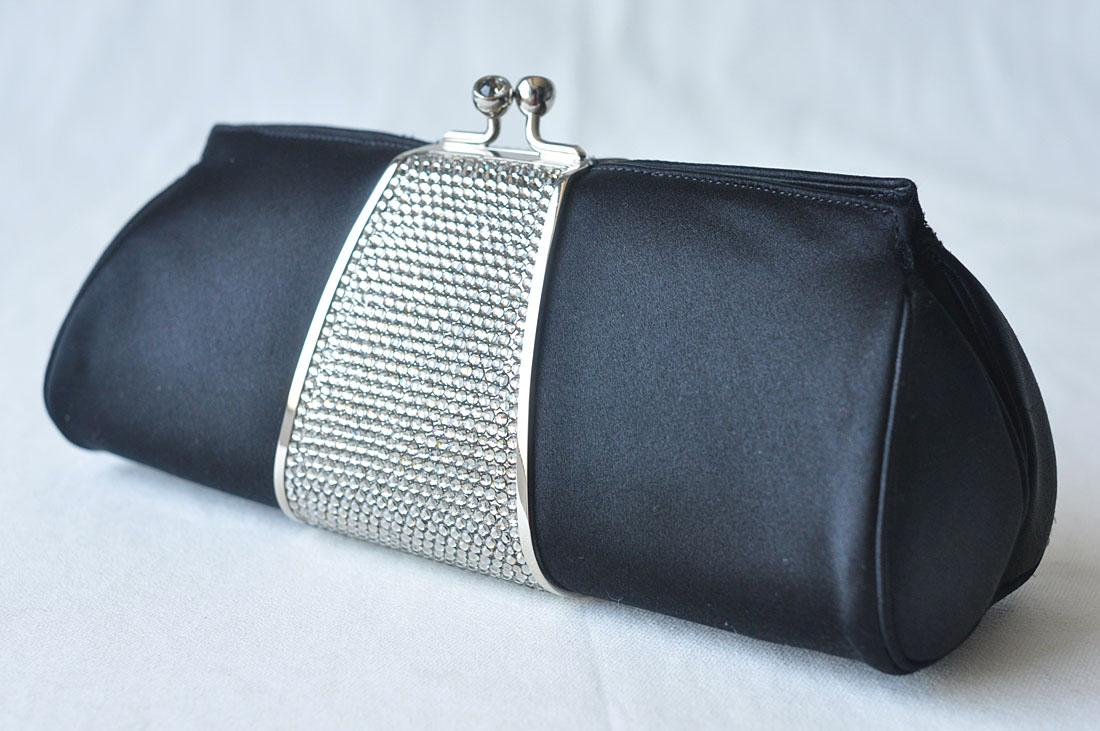 JUDITH LEIBER Black SATIN+CRYSTALS Evening Clutch Bag | EBay