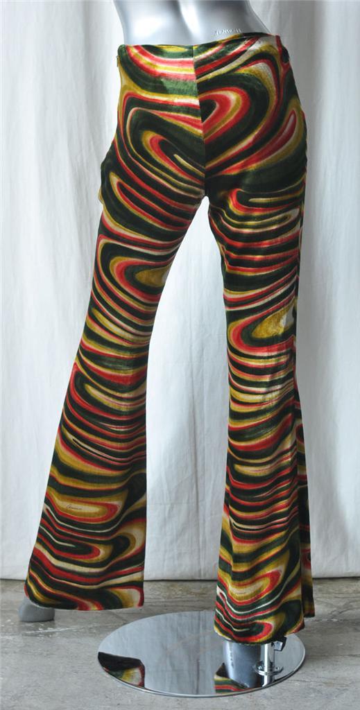 Gucci Silk Velvet Swirl Print Flare Leg Pants M 40 New