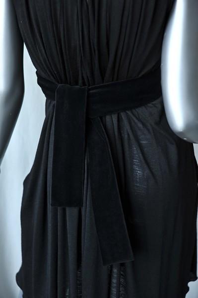 CHLOE Black Pleated Jersey Dress+Velvet Sash Belt LBD S