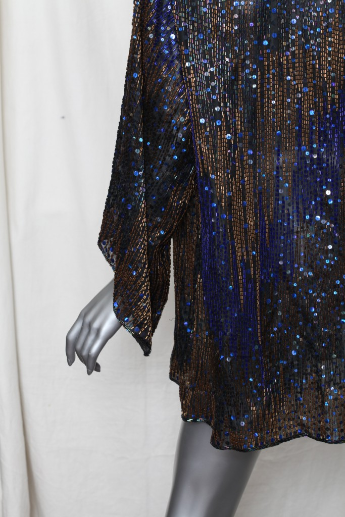 Halston Womens Vintage Beaded Sequin Evening Blouse Jacket