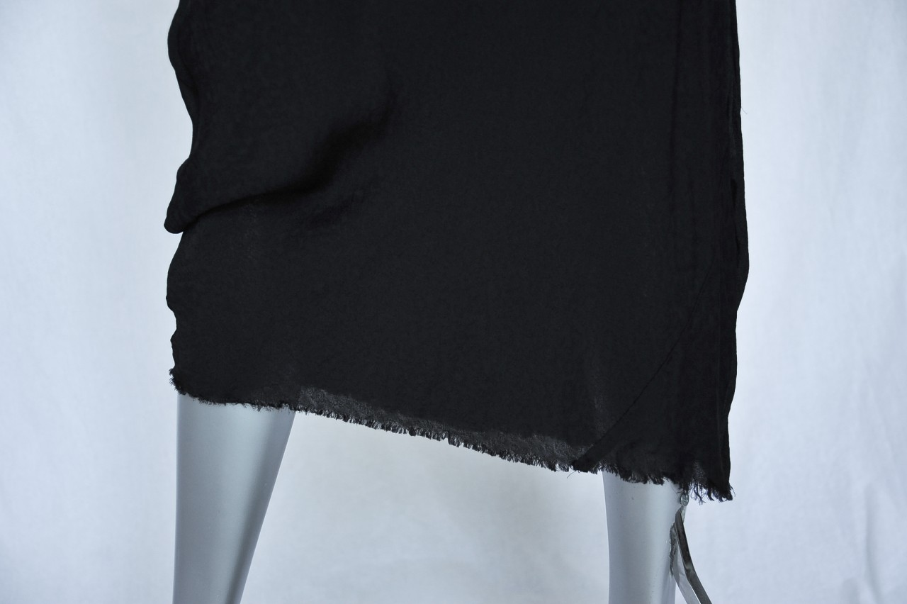 GARCONS Black Long Floral Burnout Raw Edge Distressed Dress S