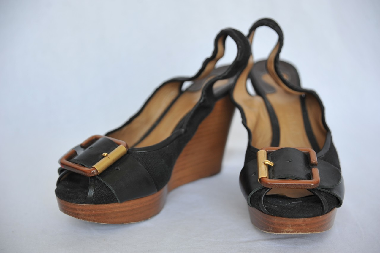 black brown canvas leather peep toe platform wedge
