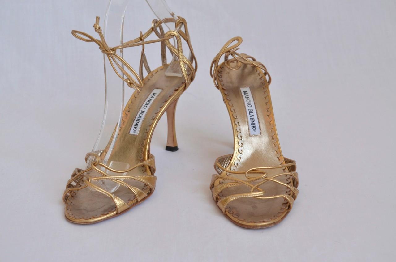 ebay.comManolo Blahnik Metallic Gold Sandal Strappy High Heel Pump