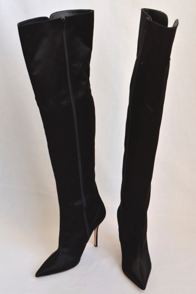 manolo blahnik black satin side lacing thigh high