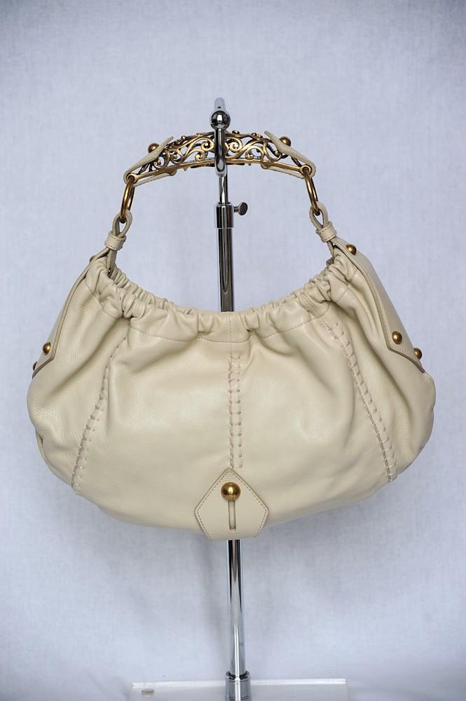 Yves Saint Laurent Rive Gauche Leather Vincennes Horn Hobo Bag ...