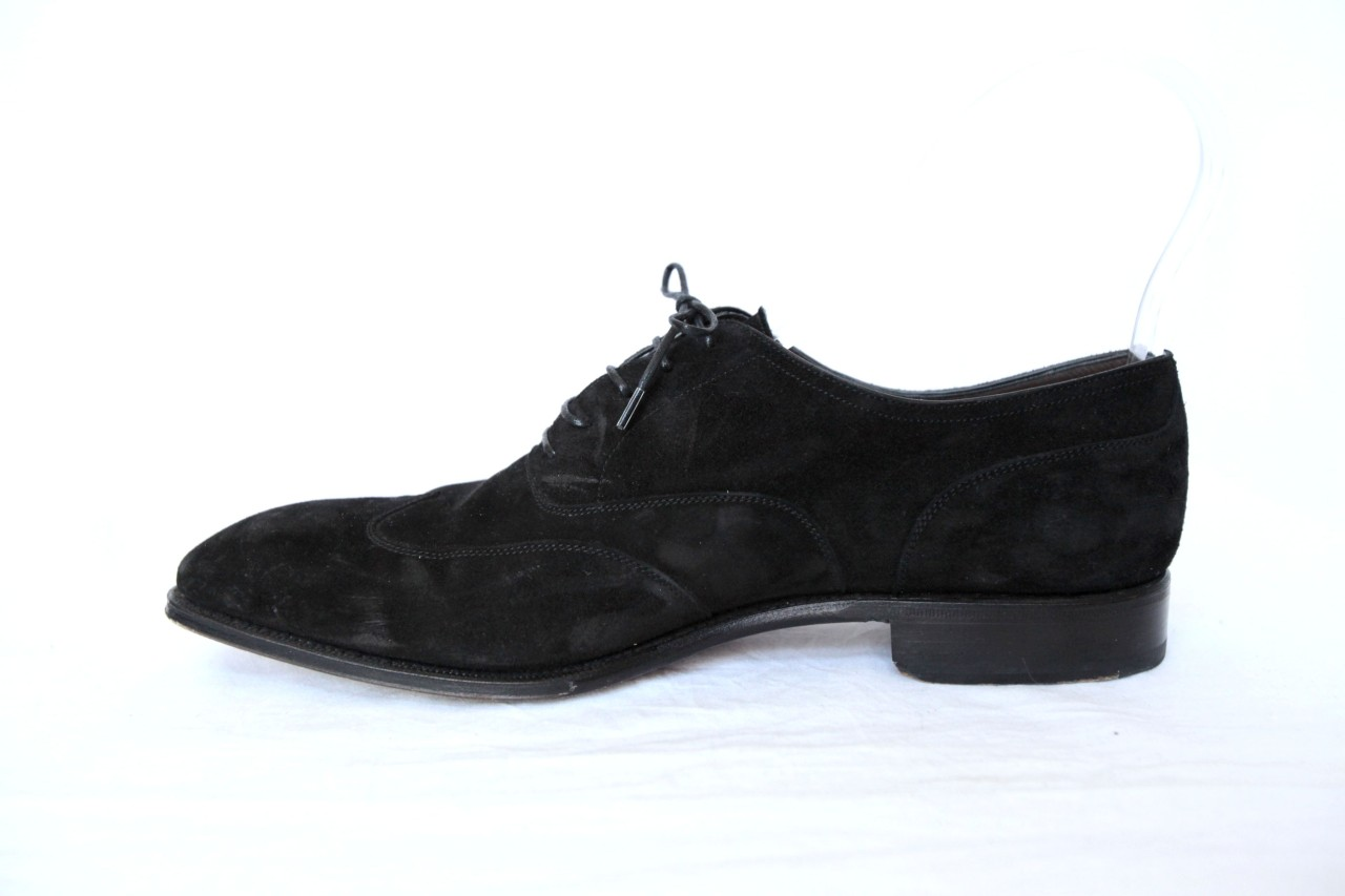 spencer hart mens classic black suede wing tip oxford
