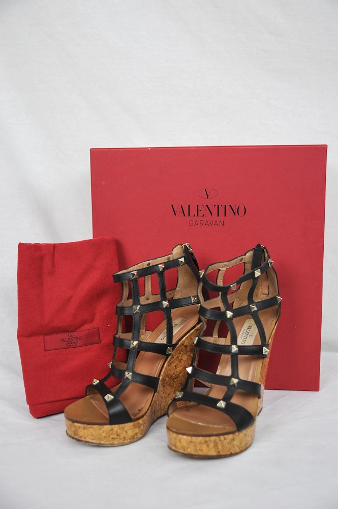 Details about VALENTINO Womens Black Glazed Cork Cage Wedge Strappy