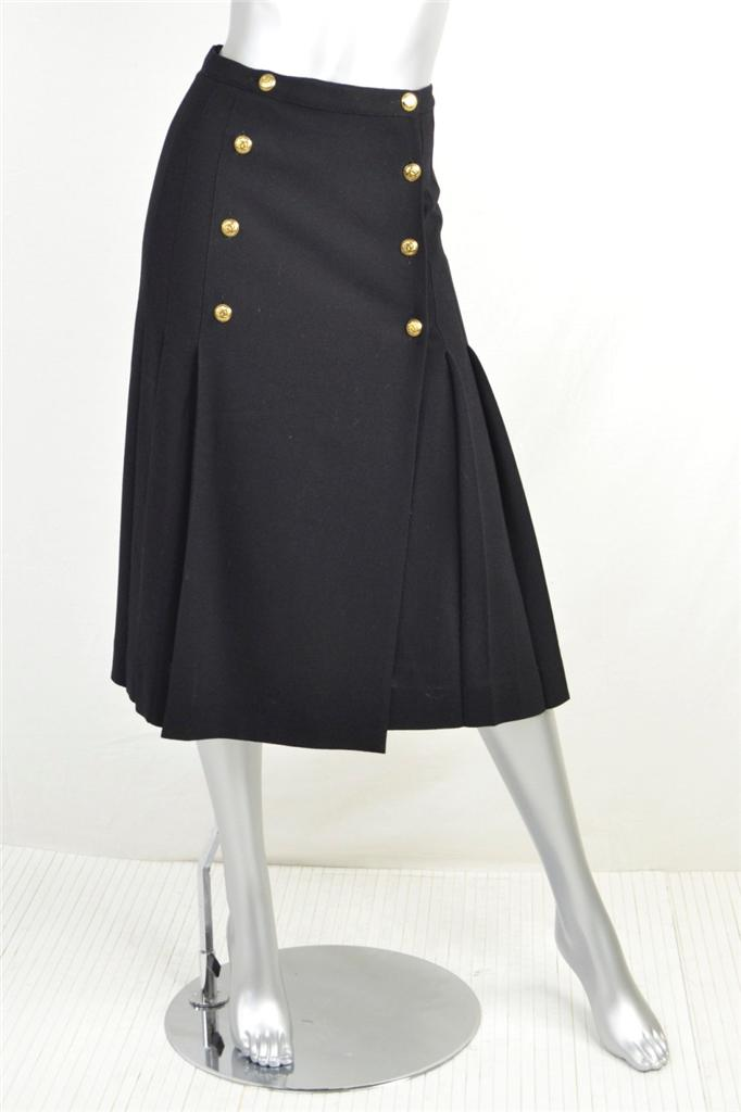 chanel black wool row cc gold buttons flat pleated