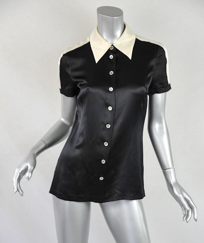 Chanel womens black silk short sleeve button down tee for Black silk button down shirt