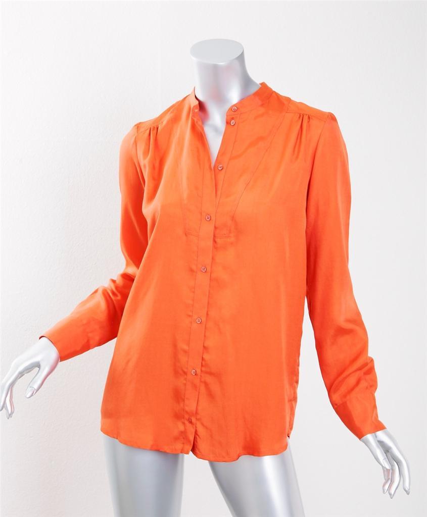 Gerard Darel Womens Orange Silk Long Sleeve Button Down