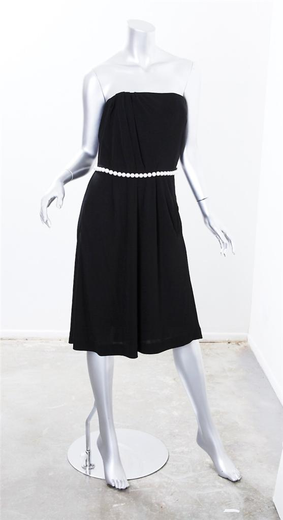 chanel womens black strapless pearl belt belted above knee
