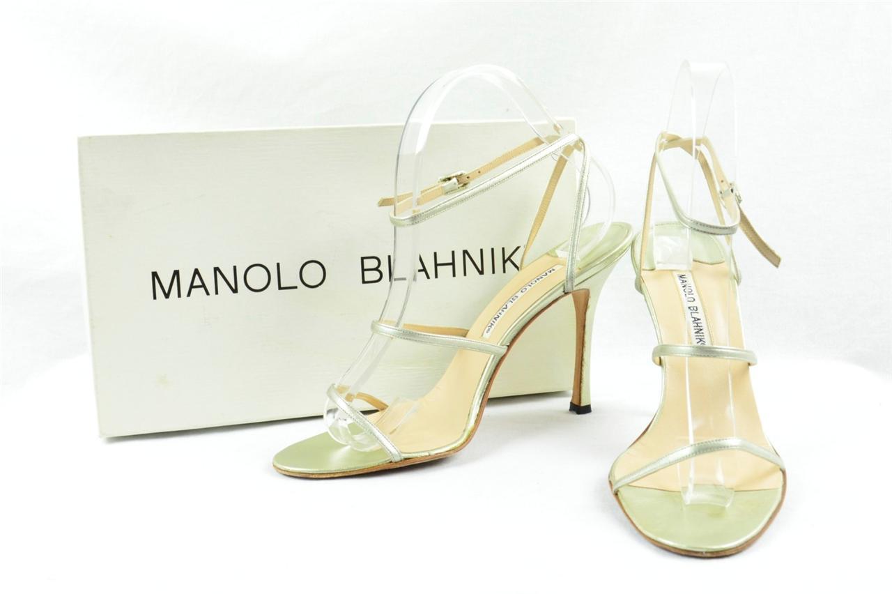 Manolo Blahnik Womens Silver Metallic High Heel Ankle
