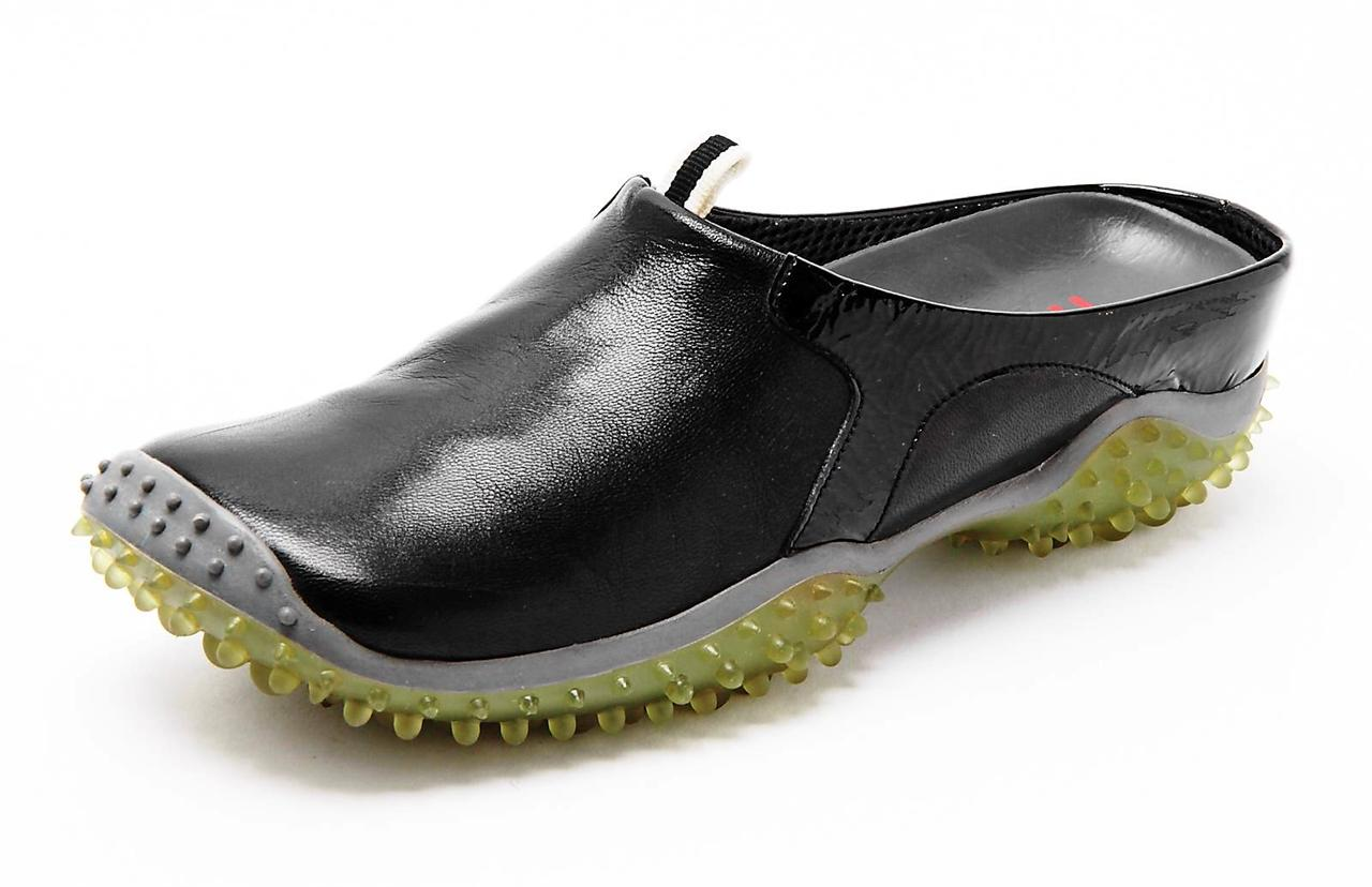 miu miu womens black leather square toe slip on sneaker