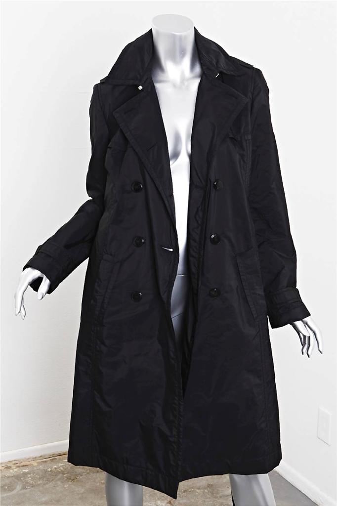 hugo boss womens black padded double breasted belted parka trench jacket coat 6 ebay. Black Bedroom Furniture Sets. Home Design Ideas