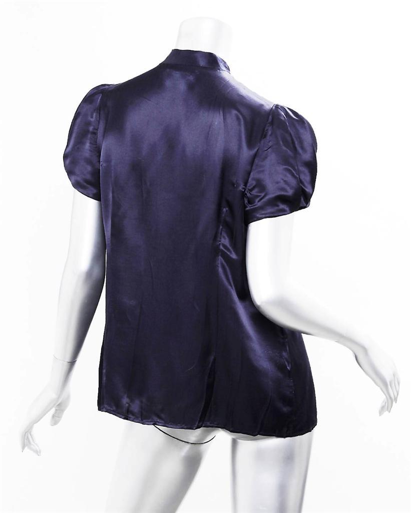 Prada Womens Navy Blue Short Sleeve Ruffled Button Down