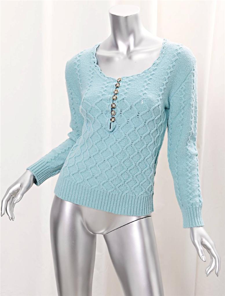 CHLOE Womens Aqua Knit Pattern Scoop Neck Fitted Sweater Pullover Cardigan S