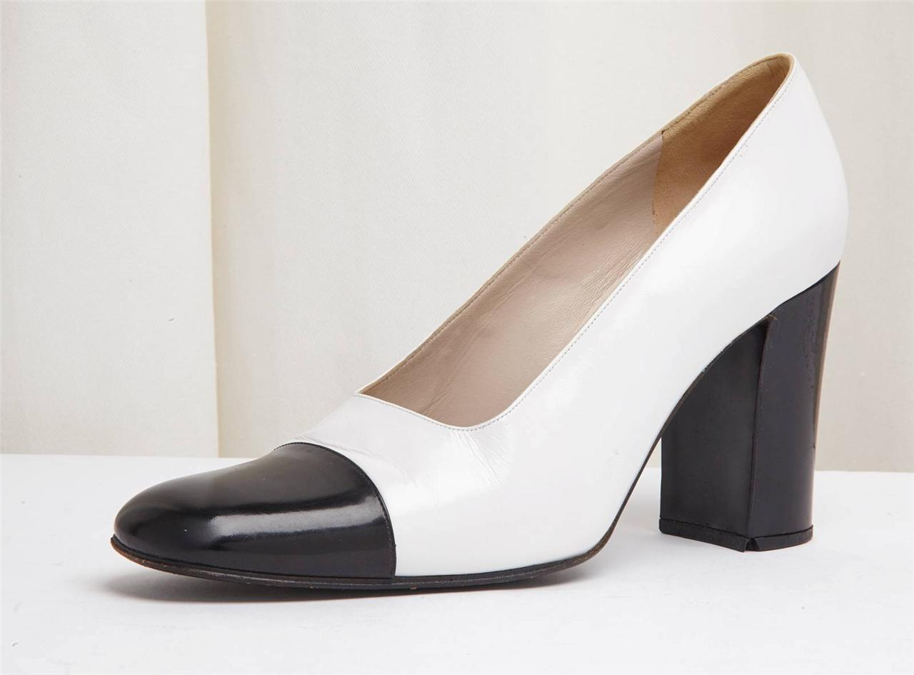 chanel black and white leather block high heel shoe 7