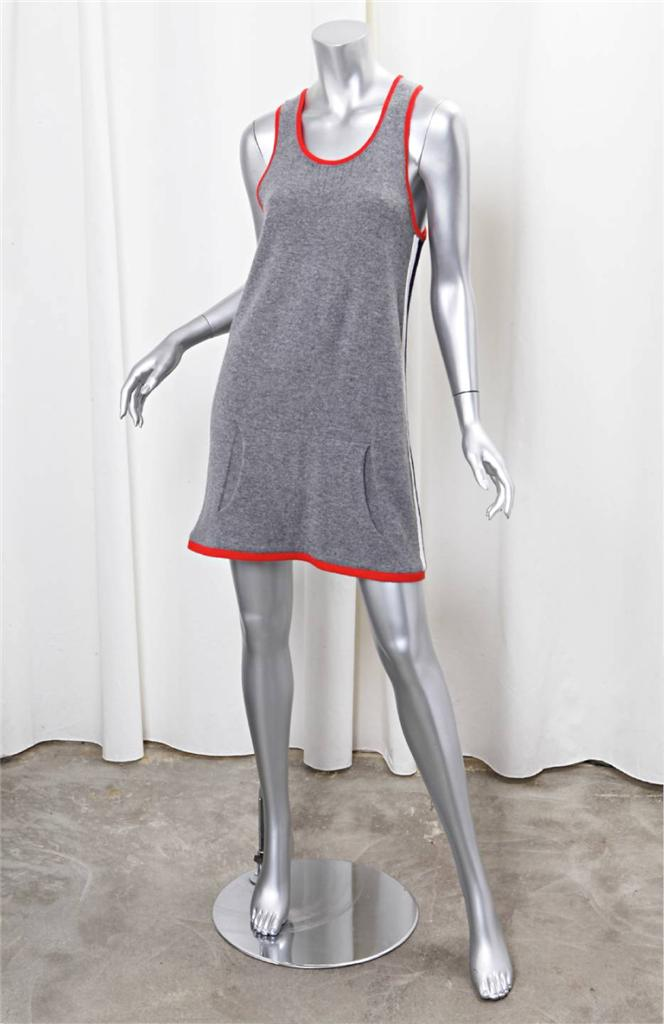 Chanel womens gray cashmere stripe knit sleeveless shift for I see both sides like chanel shirt