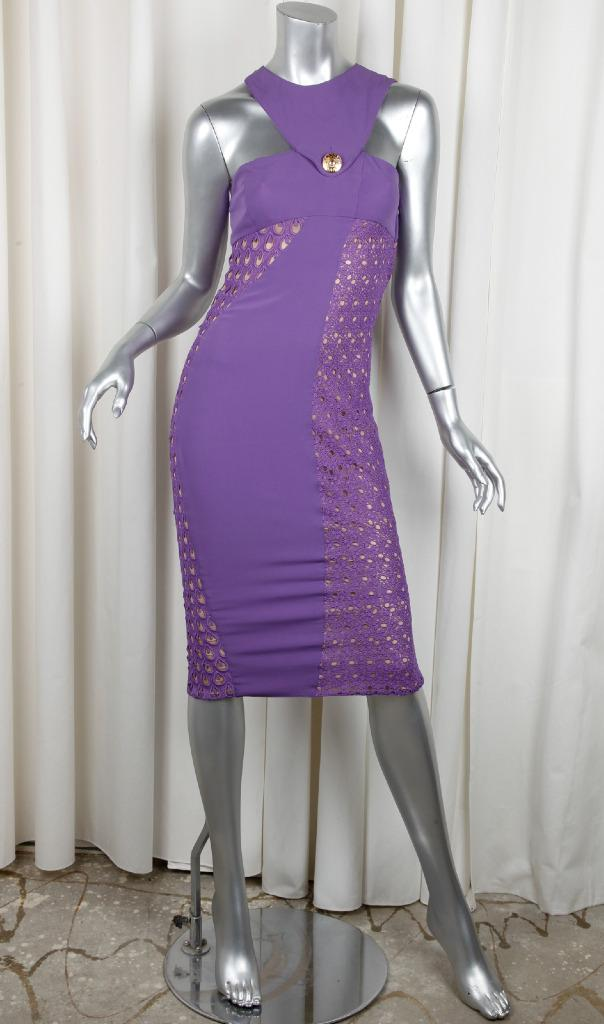 Versace x h m womens purple lace sleeveless sheath for I see both sides like chanel shirt