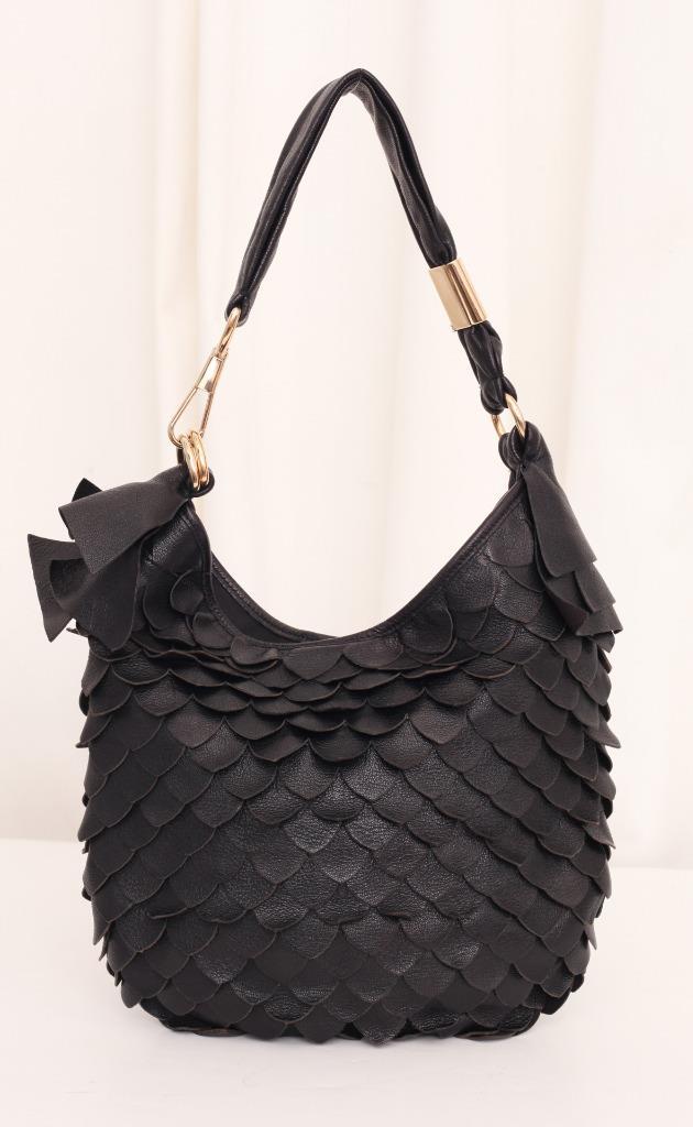 ysl keychain - Yves Saint Laurent Rive Gauche Black Leather Scalloped Fringe Hobo ...
