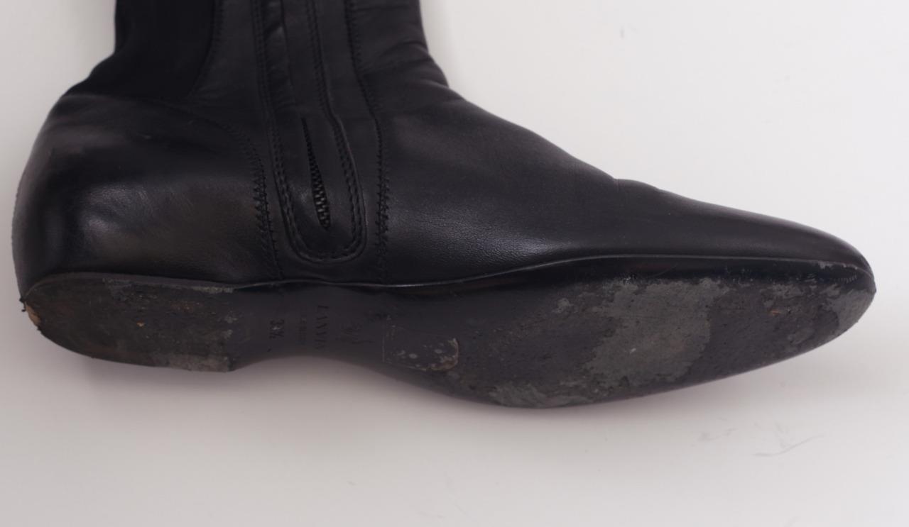 lanvin womens black leather flat the knee side zip