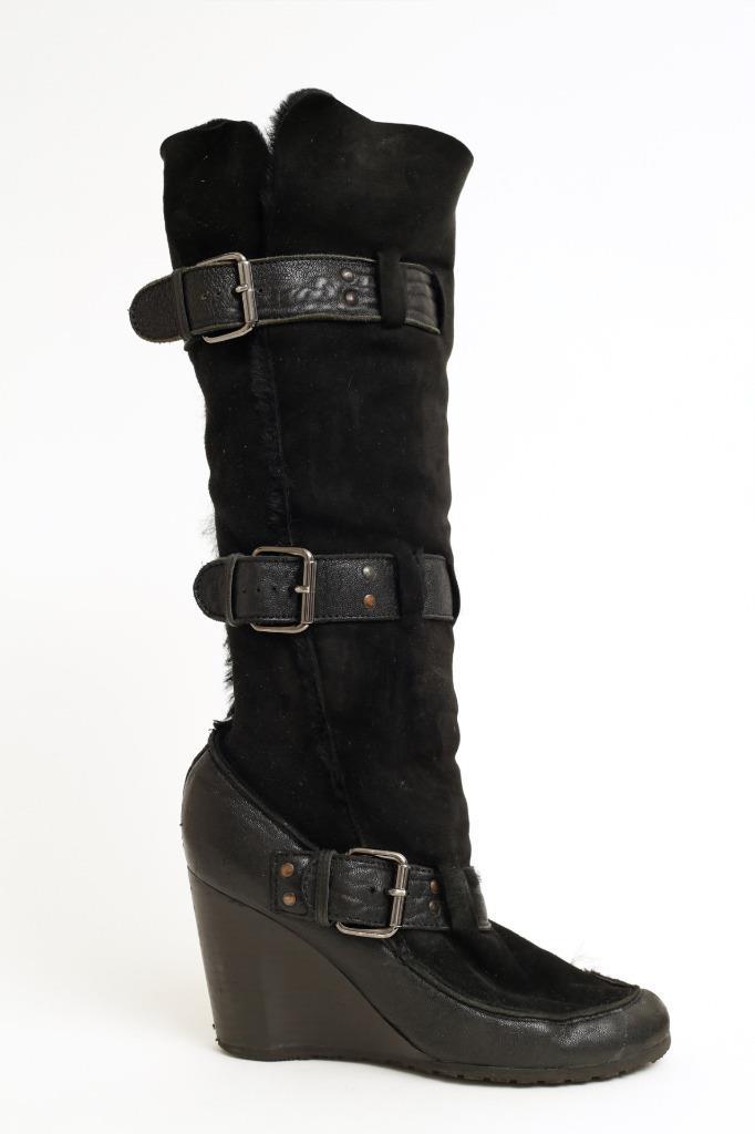 fendi black shearling toe wedge boots buckles