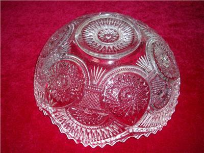 Vtg depression pressed glass bowl deep cut large 24cms dia for Most valuable depression glass patterns