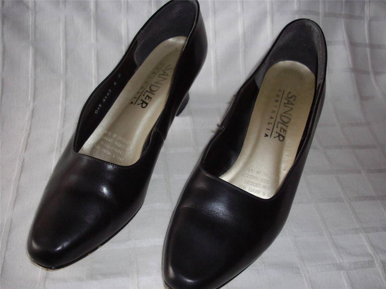 SANDLER-LADIES-LEATHER-COURT-SHOES-WITH-HEELS-BLACK-SIZE-8-VERY-GOOD
