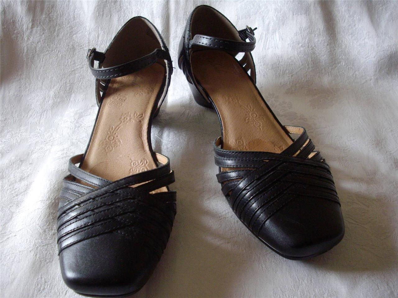 Designer-Ladies-Leather-Shoes-Black-Mary-Jane-style-Flat-Size-7-5-Very-Good