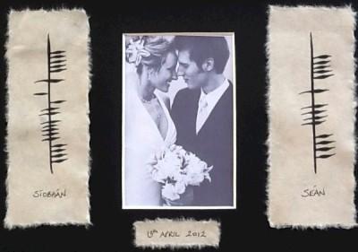 Ogham Personalised Wedding Gift : FRAMED Irish Wedding Gift Photow/ Ancient Irish OGHAM scriptby ...