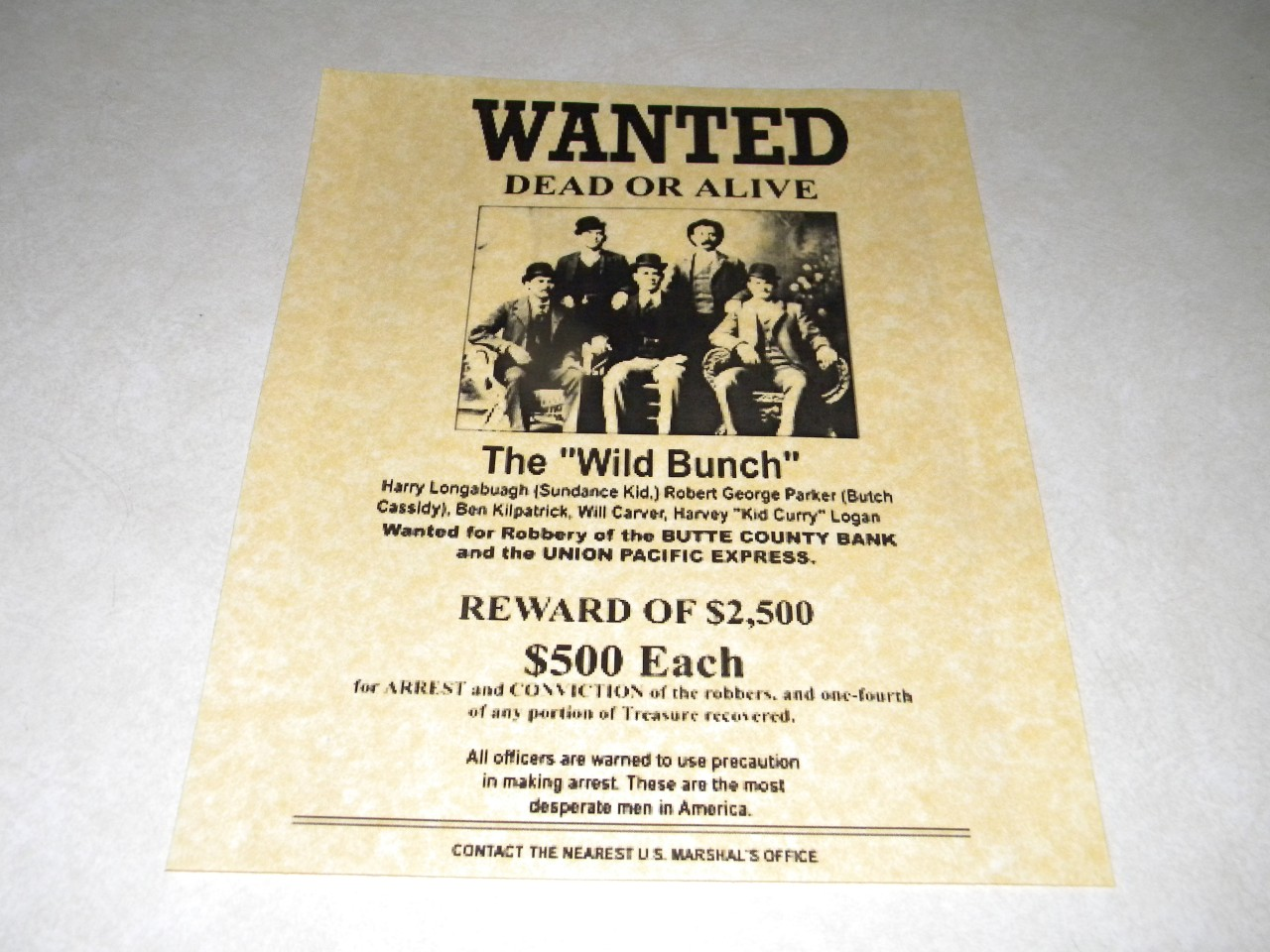 THE WILD BUNCH WANTED POSTER EXACT REPRODUCTION ON 24 POUND ...
