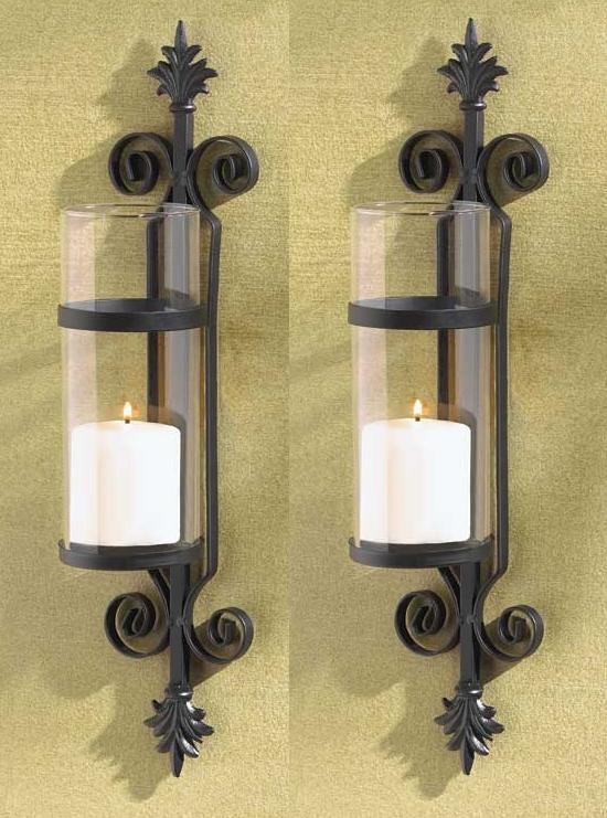Black Iron Wall Sconces For Candles : 2 Black Iron French Hurricane Candle Holder Wall Sconce