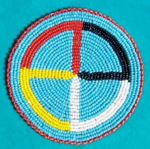 Native American Beaded Rosette Patterns http://www.ebay.com/itm/MEDICINE-WHEEL-NATIVE-AMERICAN-BEADED-ROSETTE-4-INCH-/290570026495