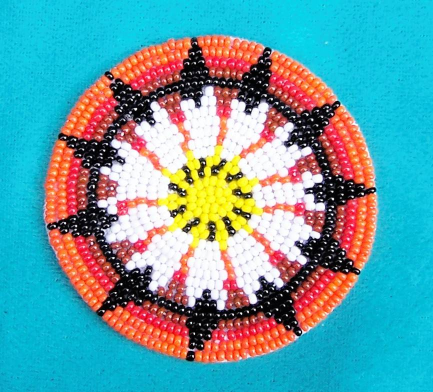 quot peyote button quot beaded iron on rosette 2 5 inch ebay
