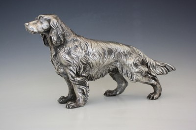 STERLING SILVER FIGURE OF ENGLISH SETTER DOG BY A. MAGRINO NoRes