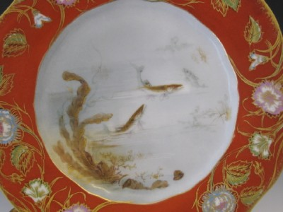 C1900 FRENCH LIMOGES PORCELAIN HAND PAINTED PLATES W/ FISH NoRe