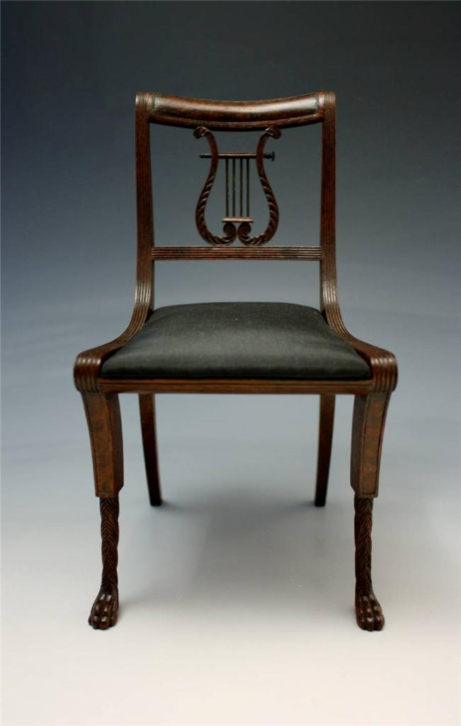 Image Is Loading SIGNED MINIATURE FEDERAL SHERATON STYLE LYRE BACK CHAIR