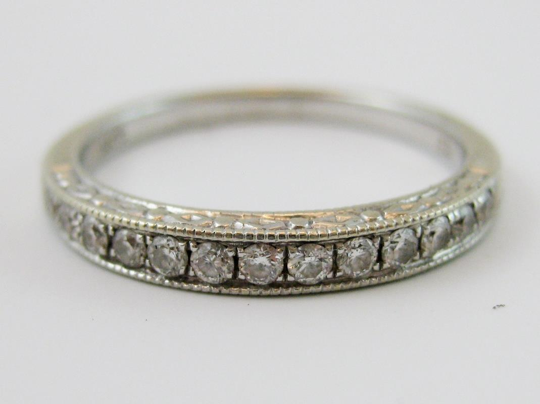 Antique 14K White Gold Bead Set 040ct Diamond Wedding Band Ring Size 675 NoRes