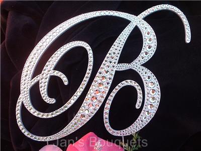 Monograms  Wedding Cakes on Custom Monogram Wedding Cake Topper Metal Swarovski 5    Ebay