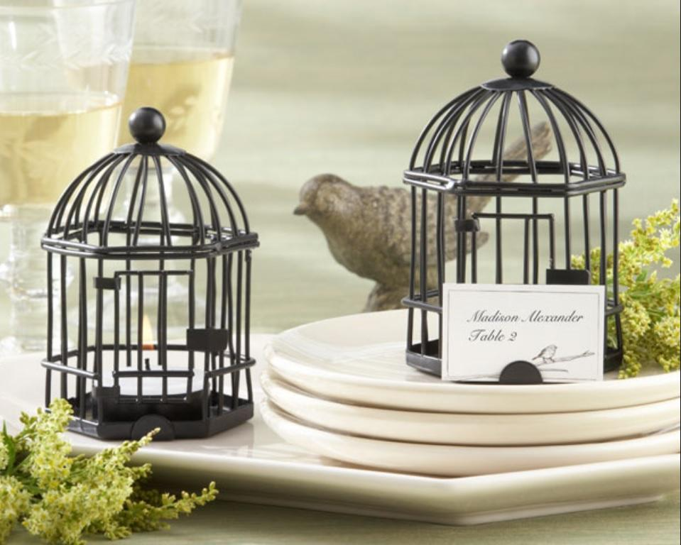 Black-Birdcage-Tealight-Luminaries-Name-Place-Card-Holders-4-Tall-with-Candles