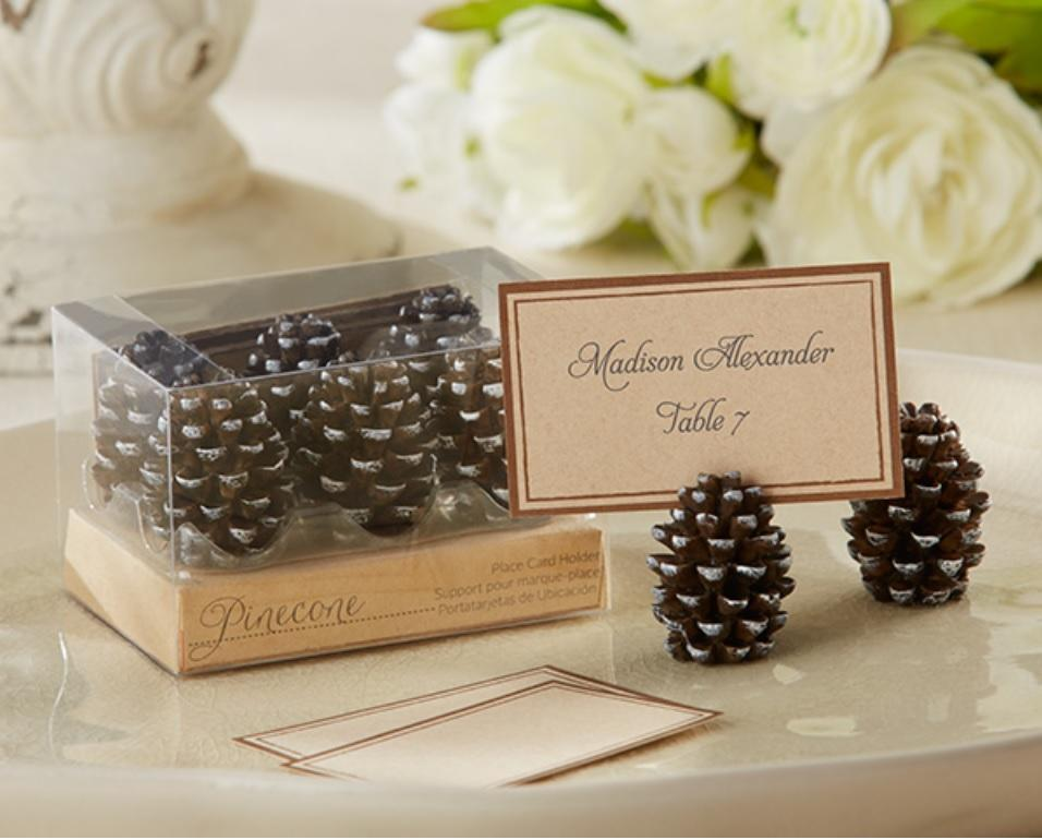pinecone place card holders christmas party holiday gatherings table decor ebay. Black Bedroom Furniture Sets. Home Design Ideas