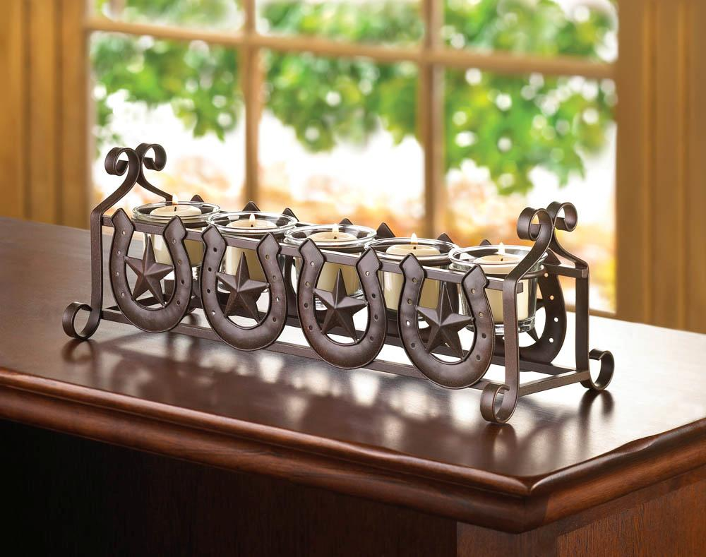 Metal-Lone-Star-amp-Lucky-Horseshoes-5-Glass-Votive-Tea-Light-Holders-Centerpiece