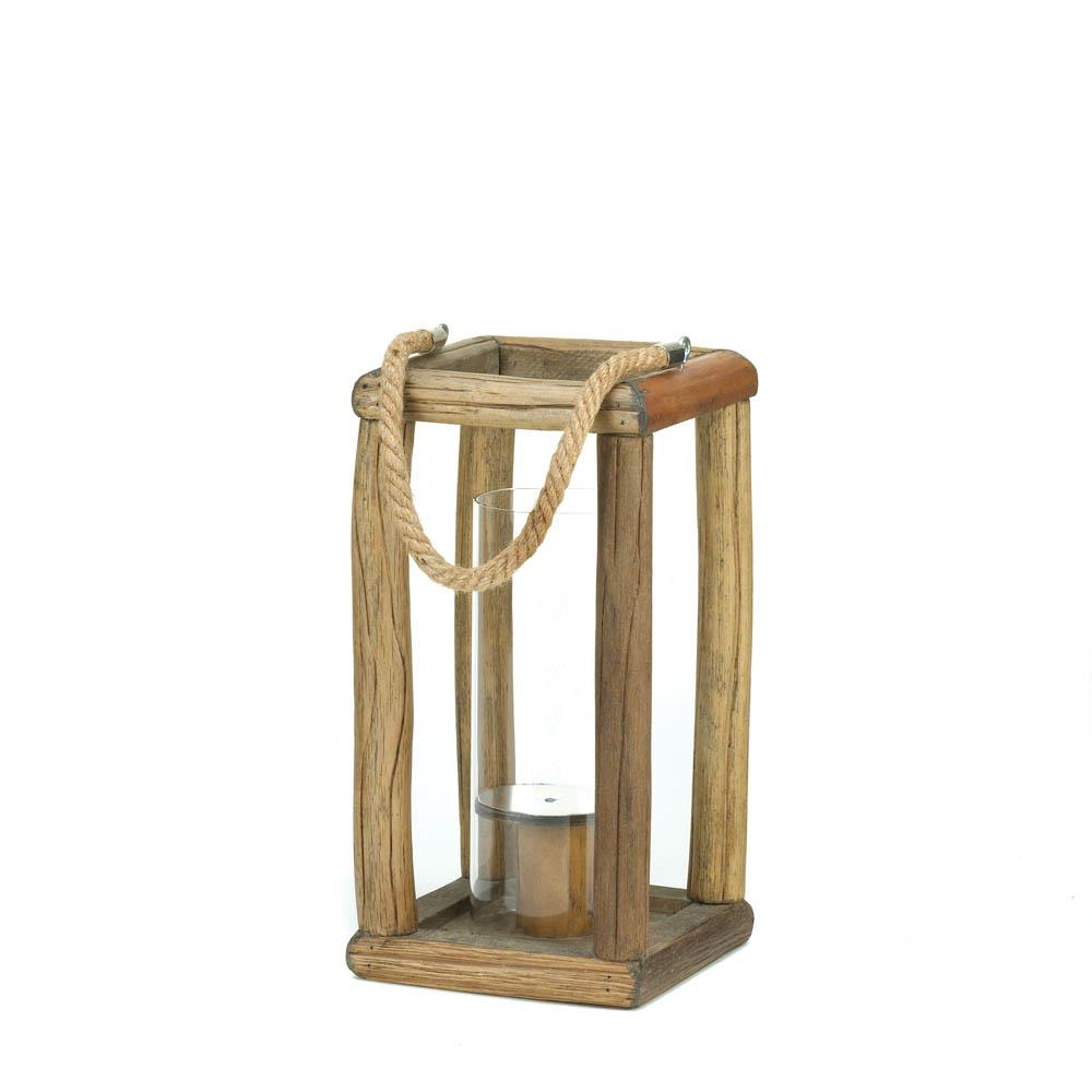 Natural wood candle holders tall glass hurricane lanterns for Wooden garden lanterns