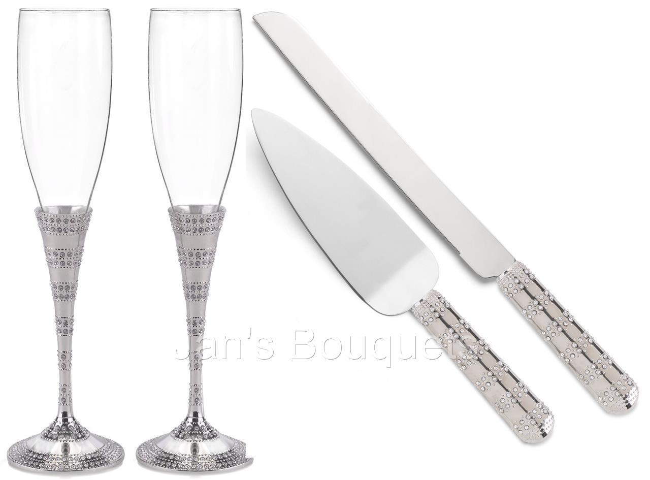 Interesting Wedding Champagne Flutes and Cake Server Sets Pics ...